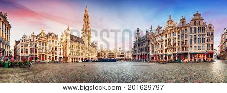 Brussels panorama of Grand Place in beautiful summer day Belgium