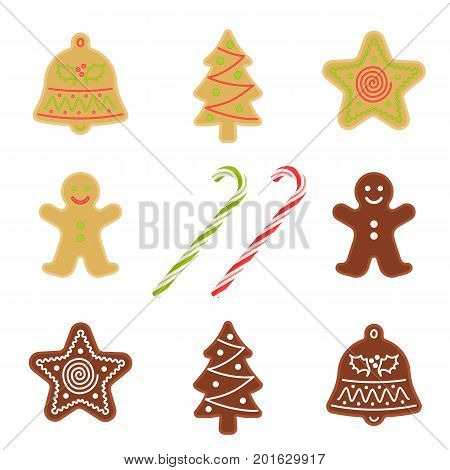 Traditional xmas cookies symbols: gingerbread man, christmas tree, star, bell and candy cane. Flat illustration of christmas winter holiday sweet baked treats. Isolated on white vector design elements
