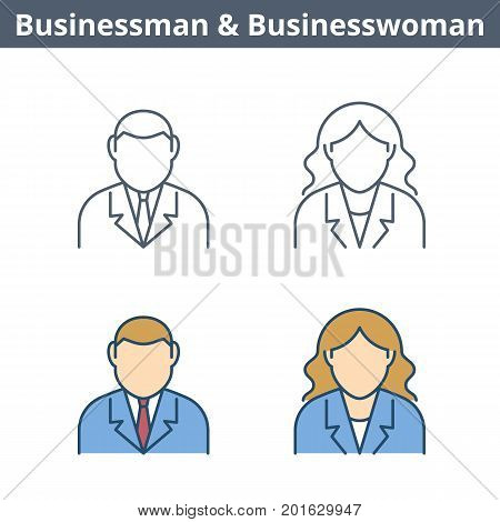 Occupations colorful avatar set: businessman, businesswoman. Flat line professions userpic collection. Vector thin outline icons for user profiles, web design, social networks and infographics.