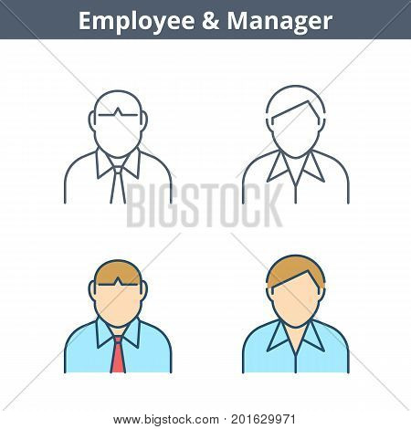 Occupations colorful avatar set: clerk, employee, manager. Flat line professions userpic collection. Vector thin outline icons for user profiles, web design, social networks and infographics.