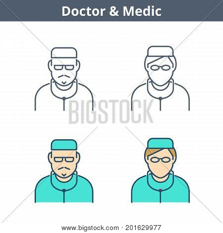 Occupations colorful avatar set: doctor, medic, nurse. Flat line professions userpic collection. Vector thin outline icons for user profiles, web design, social networks and infographics.
