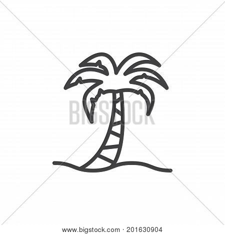 Palm tree line icon, outline vector sign, linear style pictogram isolated on white. Tropical beach symbol, logo illustration. Editable stroke. Pixel perfect vector graphics