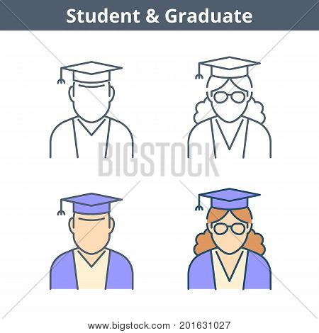 Occupations colorful avatar set: student, graduate. Flat line professions userpic collection. Vector thin outline icons for user profiles, web design, social networks and infographics.
