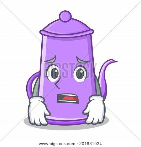 Afraid purple teapot character cartoon vector illustration