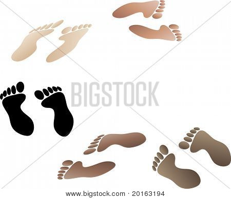 footprints different skin tones and orientations