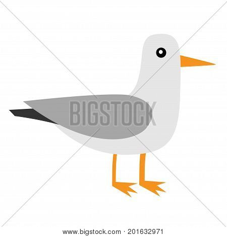 Albatross icon. Antarctica petrel Seagull wandering royal bird. Arctic animal collection. Cute cartoon baby character. Winter white background. Isolated. Flat design. Vector illustration