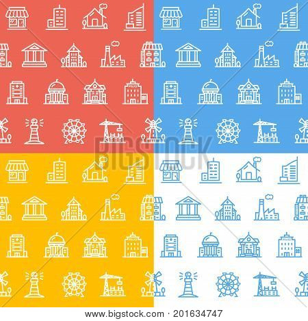 Building House or Home Pattern Background Set Symbols and Elements for Web Design. Vector illustration of different buildings