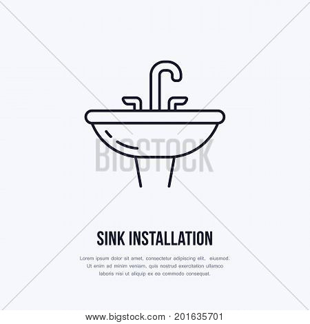 Sink, toilet flat line icon. Ceramic washbowl with faucet sign. Vector illustration of house equipment store or plumbing service.