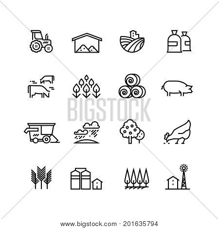 Farm harvest linear vector icons. Agronomy and farming pictograms. Agricultural symbols, farm field, agricultural equipment, tractor transport illustration