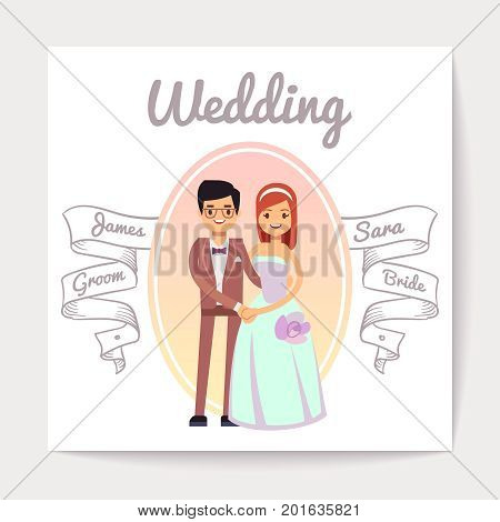 Cartoon married or engaged couple bride and groom wedding vector card. Wedding banner with groom and bride illustration