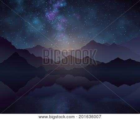 Nature night vector background with starry sky, mountains and water surface. Landscape and mountain with cosmos starlight sky illustration