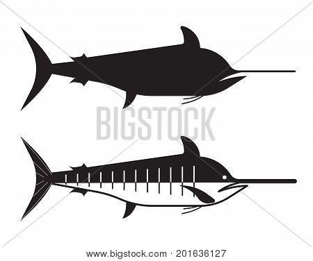 Blue marlin fish in outline style. Ocean swordfish logo or label template.
