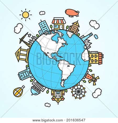 Globe and Building Around Tourism Business Concept for Posters, Brochures and Card International Trip. Vector illustration