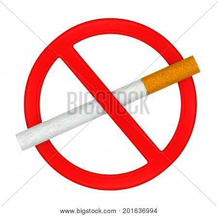 No Smoking Sign isolated on white background. 3D render