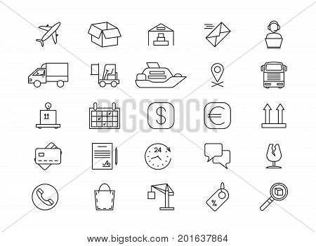 Import and export logistics, shipping and goods delivery, cargo line icons. Delivery and export transportation container, warehouse and distribution logistics illustration