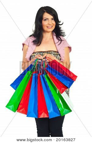 Happy Woman Hold Many Colorful Shopping Bags