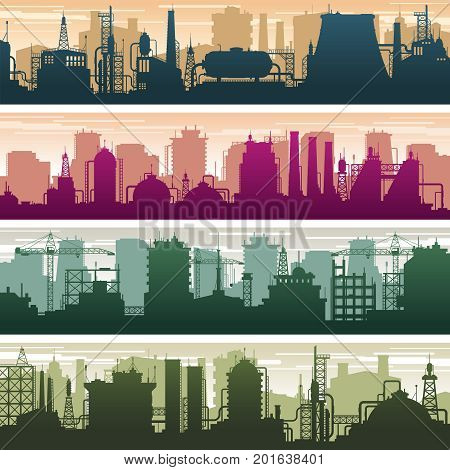Modern building of gas and oil station, power plant and factory silhouettes. Industry landscapes vector set. Factory power building, industry plant station illustration