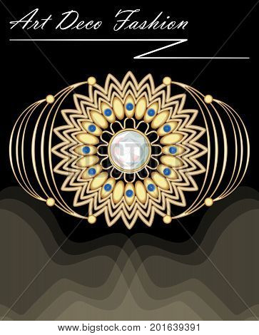 Expensive art deco filigree brooch in with diamonds and small blue sapphires fashion in victorian style antique gold jewel vector EPS 10