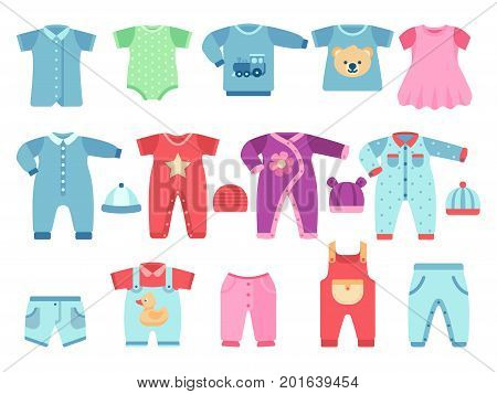 Boy and girl baby garments. Infant vector clothes. Clothing infant baby dress and suit illustration
