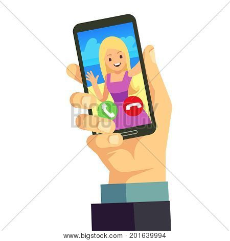 Video call with young happy woman using smartphone. Online mobile conference vector background. Mobile online video call illustration