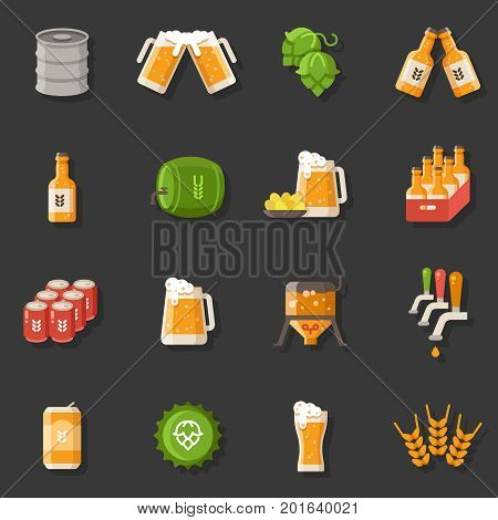 Beer vector flat icons. Oktoberfest german festival symbols. Barrel beer traditional holiday signs vector illustration