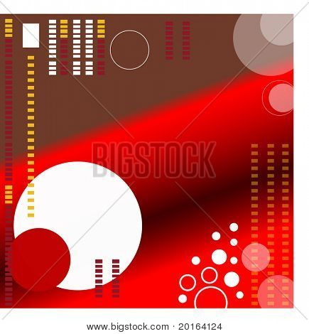 funky red and brown background with circles and squares
