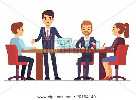 Business meeting in office at conference table with talking businessmen and businesswomen vector illustration. Conference and meeting team, businessman and businesswoman