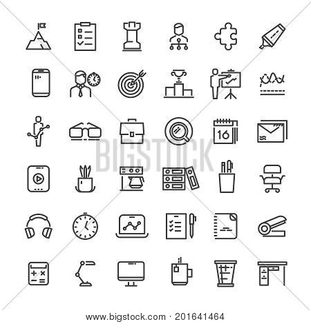 Office and time management icons collection. Strategy and hierarchy, tactics and goal, vector illustration