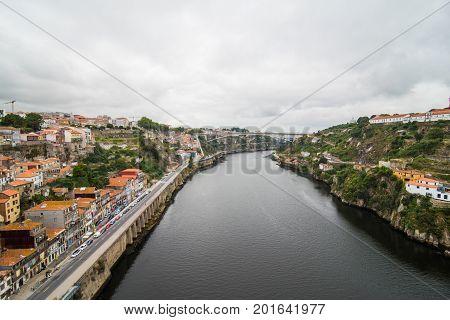 Porto, Portugal - July 2017. Porto, Portugal Old Town From Ponte De Luis Bridge