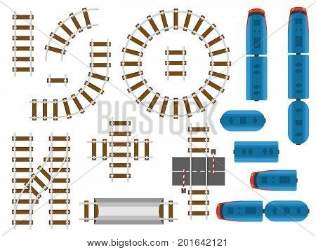 Top view railway tracks and railroad transport - trains, carriage and car. Rail road round for train, railway transport illustration