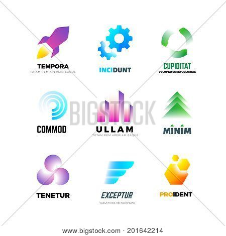 Business company vector logo set. Abstract modern geometric emblems with shape in motion and color. Emblem business company, color motion brand logo illustration