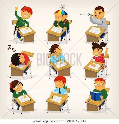 Set of children sitting at their desks and behaving differently. Elementary school lesson illustration.
