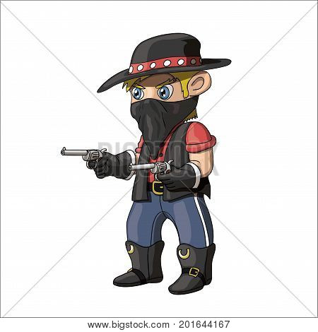 An illustration of a young american cowboy bandit standing and holding guns