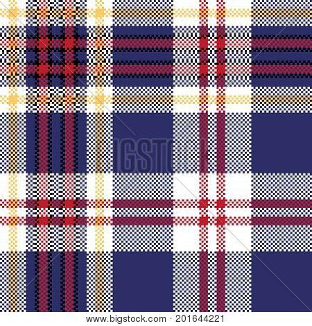 Blue tartan plaid seamless fabric texture. Vector illustration.