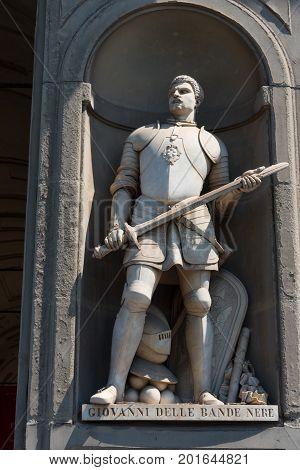 Giovanni Delle Bande Nere. Statue in the Uffizi Gallery, Florence, Tuscany, Italy