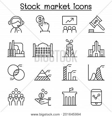 Stock market Stock money Stock exchange icon set in thin line style
