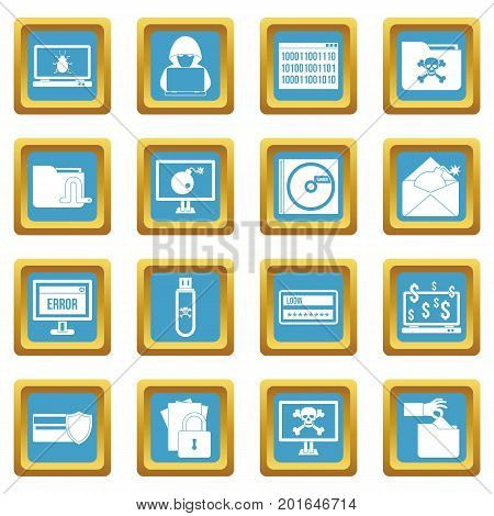 Criminal activity icons set in azur color isolated vector illustration for web and any design