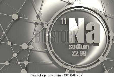 Sodium chemical element. Sign with atomic number and atomic weight. Chemical element of periodic table. Molecule And Communication Background. Connected lines with dots. 3D rendering.