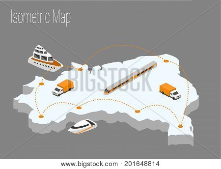 Map Brazil isometric concept. 3d flat illustration of Map Brazil.