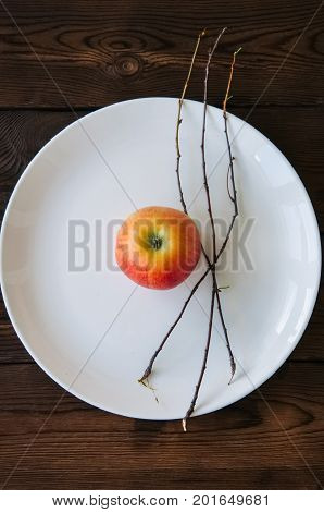White Plate, Red Apple And Tree Brunches On A Wooden Background. Autumn, Thanksgiving, Halloween Con