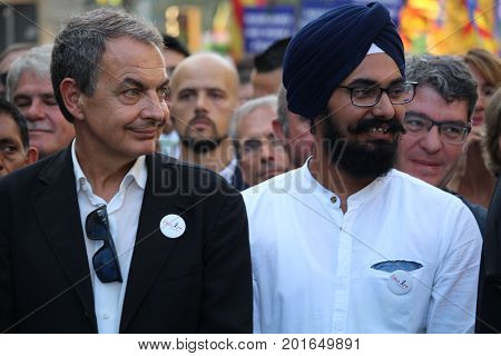 Barcelona, Spain - August 26, 2017: Former Spanish prime minister Zapatero at the massive protest `I am not scared` against terrorism and islamophobia after the attack on Rambla