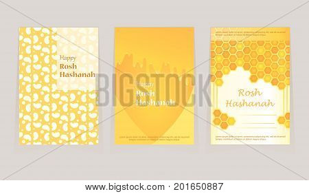 A set of greeting card for Rosh Hashanah day. Shana tova. Flowing honey, apples on the background. Festive nice, sweet cover. New Year. Vector illustration.