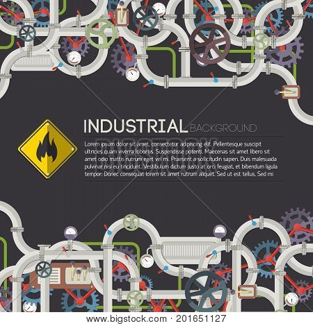 Industrial manufacturing poster with text connected pipes valves mechanisms taps gear on dark background vector illustration