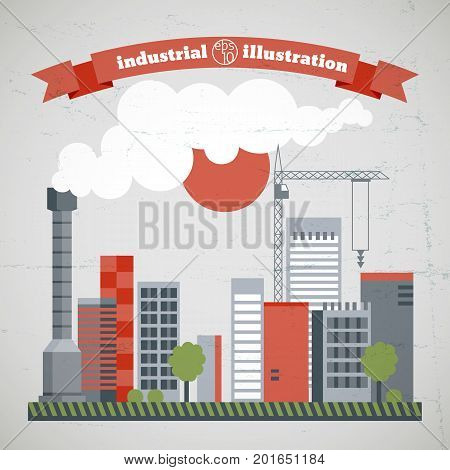 Environmental ecology concept with industrial city district chimney buildings smoke construction crane vector illustration