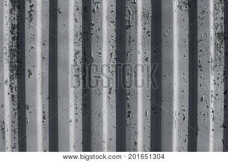 Pattern Metal Wall Obsolete Paint Gray Color With Shadow Background Texture.