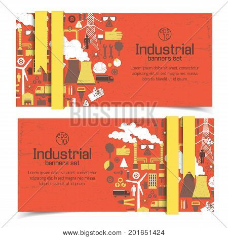 Horizontal banners with industrial equipment and yellow ribbons on red worn background isolated vector illustration