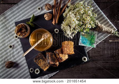 Honeycombs With Flowers And Card
