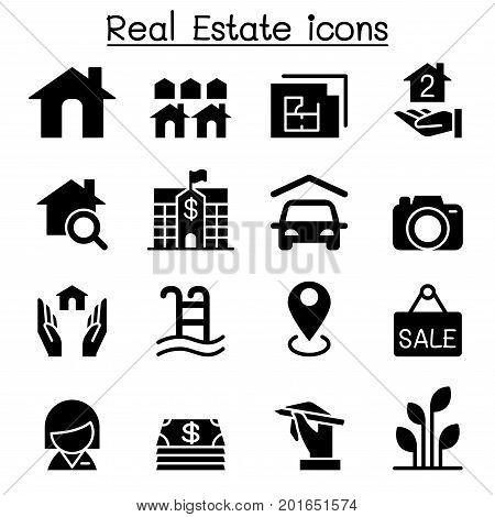 Real Estate Business icon set Vector illustration Graphic Design