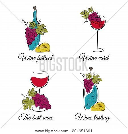 Wine concept  illustrations. Vector set in hand drawn style. Can be used for wine list menu restaurant logo emblem wine tasting bar or winery illustration.