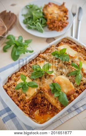 italian lasagne mince meat with pasta and cheese sauce